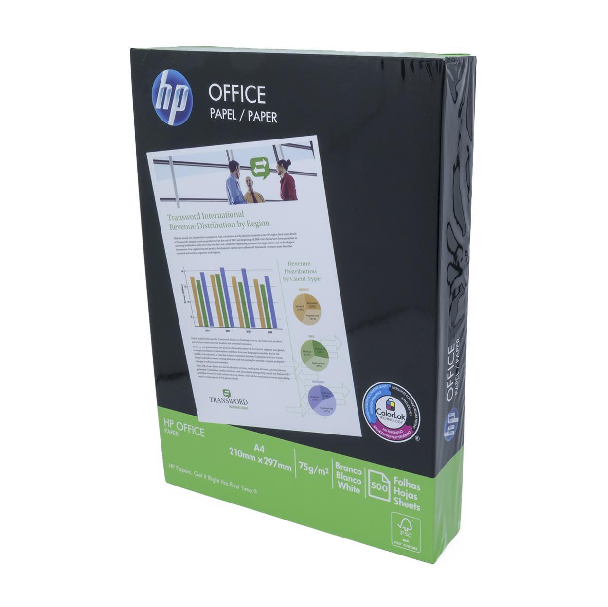 Papel Sulfite A4 Branco | HP ColorLolk 75g - Resma 500 Folhas (Excelente Qualidade)