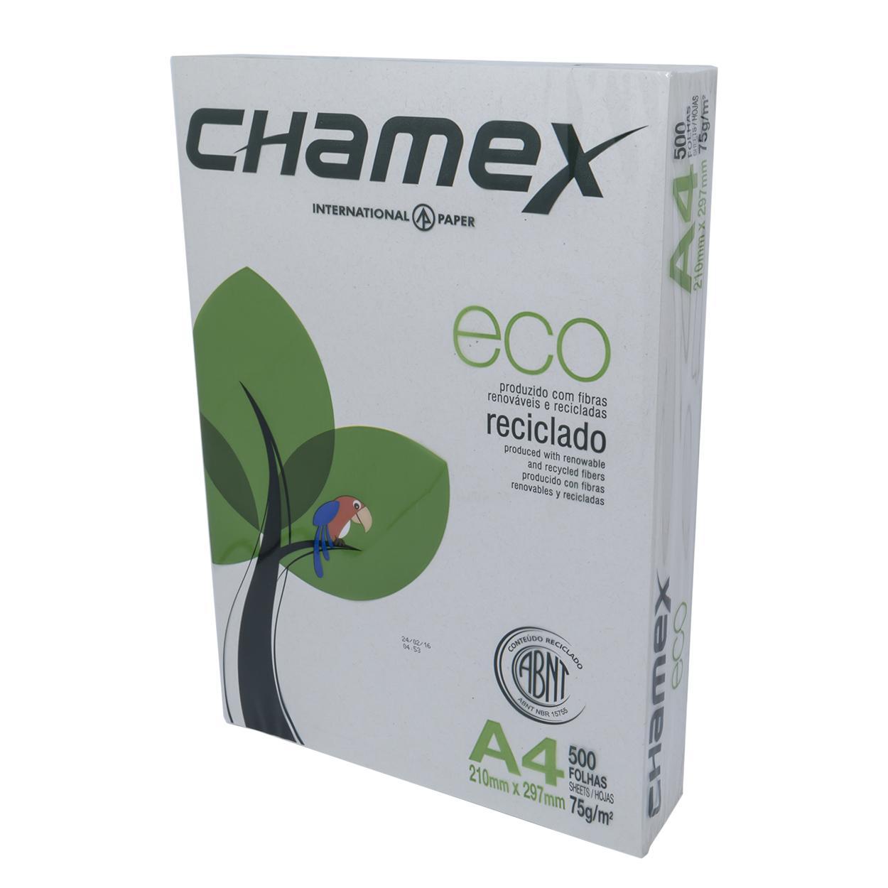 Papel Sulfite A4 Reciclado | Chamex 75g - Resma 500 Folhas