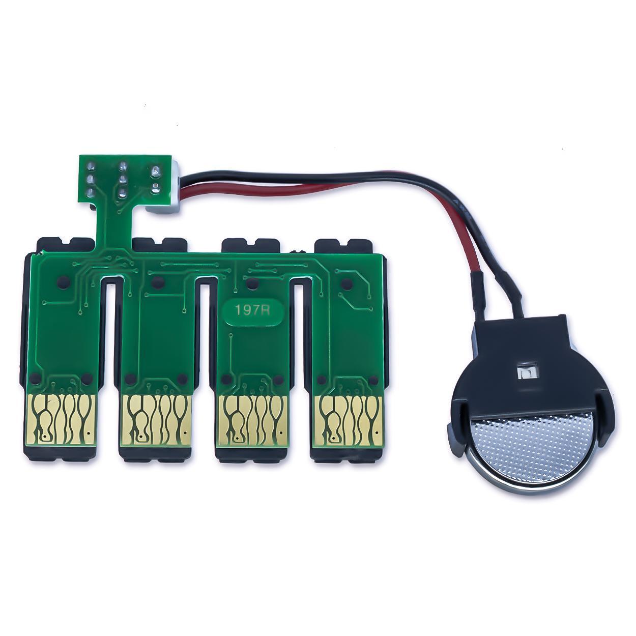 Placa Reset Chip Full para Bulk Ink EPSON XP-201, XP-204, XP-211, XP-214, XP-401 e XP-411 (197R-C) - Botão Reset (Com Bateria)