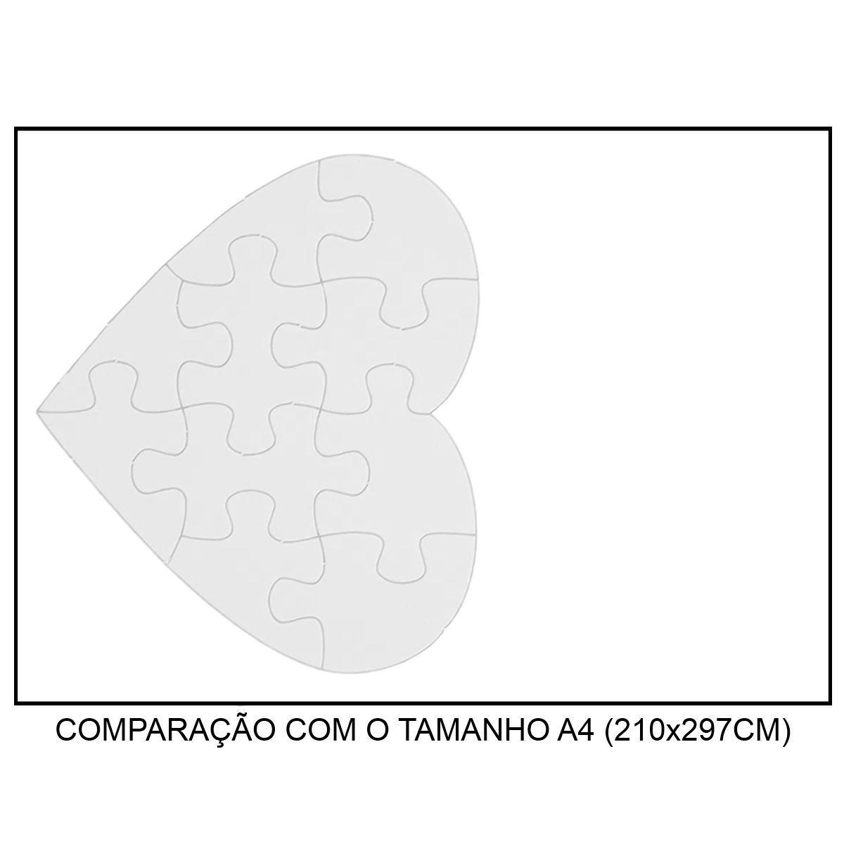 QUEBRA-CABEÇA BRANCO PARA SUBLIMAÇÃO - CORAÇÃO 19x16,5CM (A5) - 10 PEÇAS