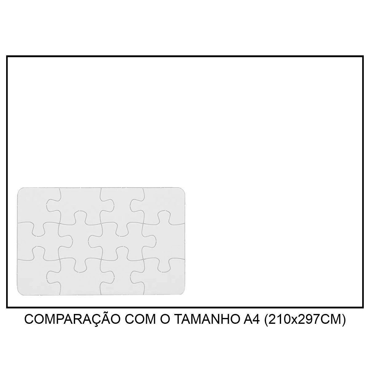 QUEBRA-CABEÇA BRANCO PARA SUBLIMAÇÃO - TAMANHO: 14x9CM (A6) - 12 PEÇAS