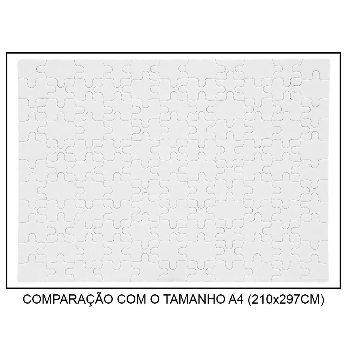 QUEBRA-CABEÇA BRANCO PARA SUBLIMAÇÃO - TAMANHO: 19x27CM (A4) - 121 PEÇAS