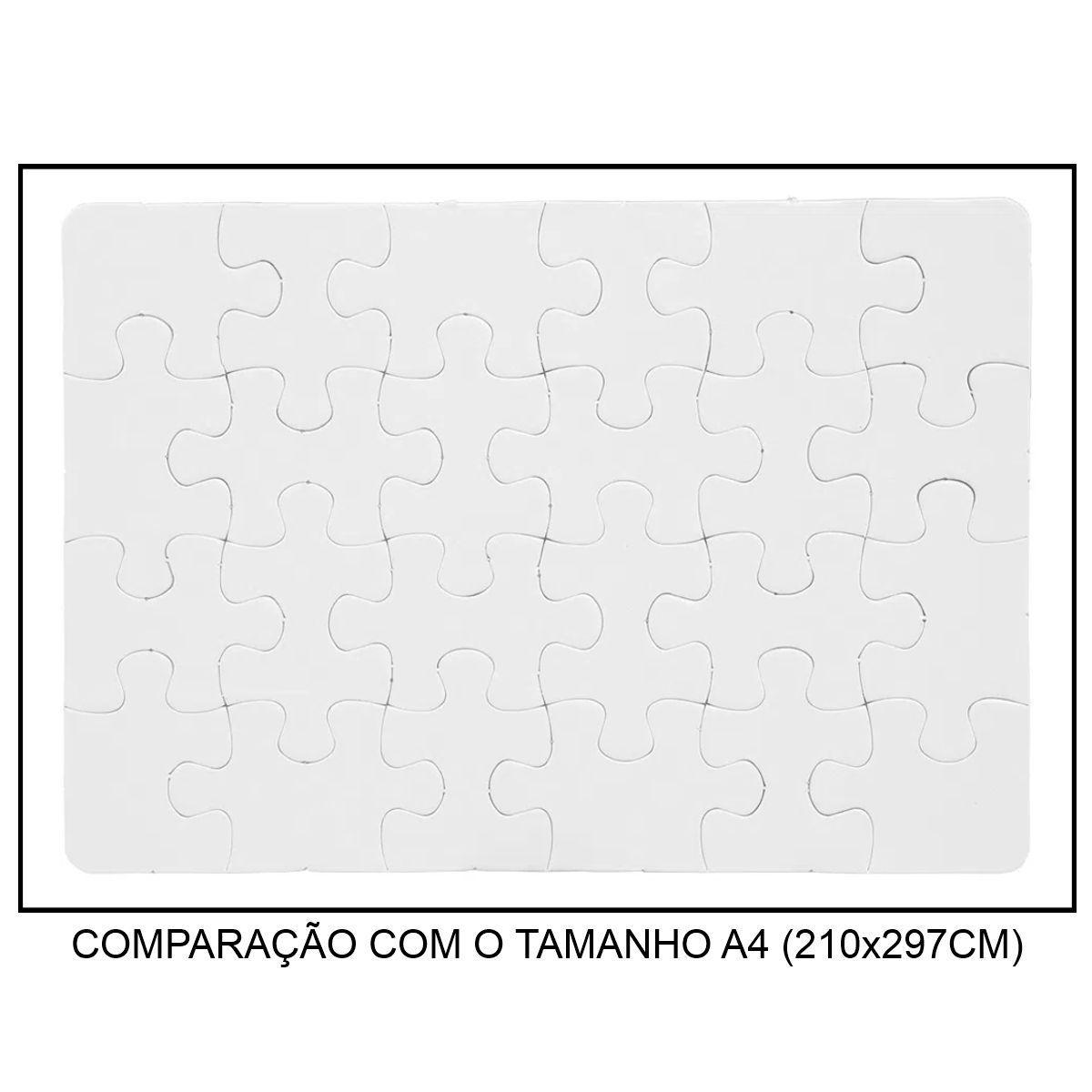 QUEBRA-CABEÇA BRANCO PARA SUBLIMAÇÃO - TAMANHO: 19x27CM (A4) - 24 PEÇAS