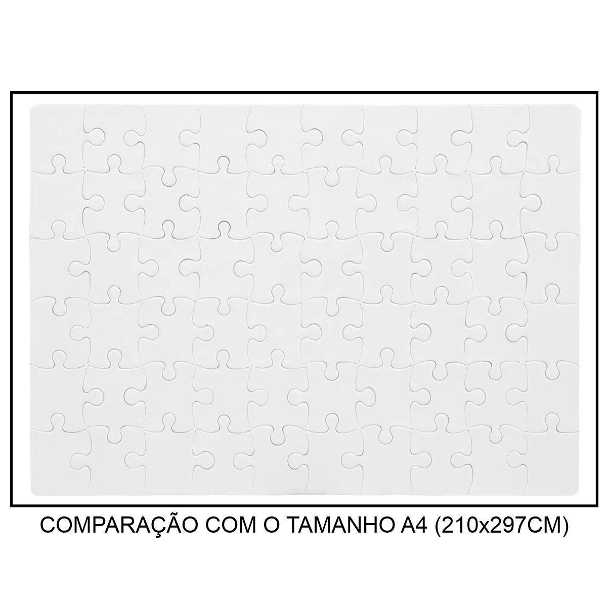 QUEBRA-CABEÇA BRANCO PARA SUBLIMAÇÃO - TAMANHO: 19x27CM (A4) - 60 PEÇAS