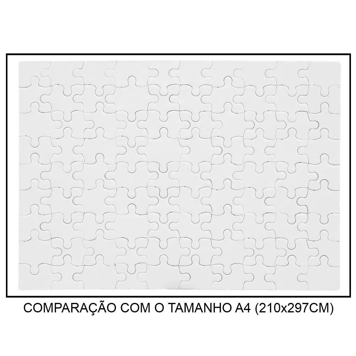 QUEBRA-CABEÇA BRANCO PARA SUBLIMAÇÃO - TAMANHO: 19x27CM (A4) - 90 PEÇAS