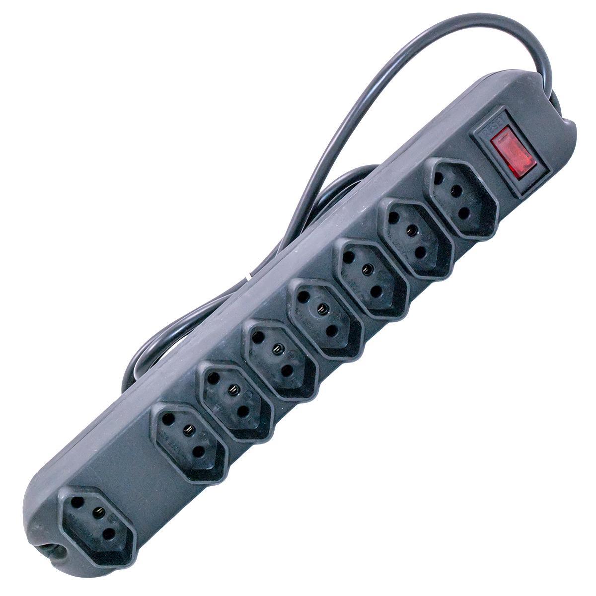 Régua | Protetor Elétrico Preto para 8 Tomadas - Modelo com Disjuntor (Maior Segurança)