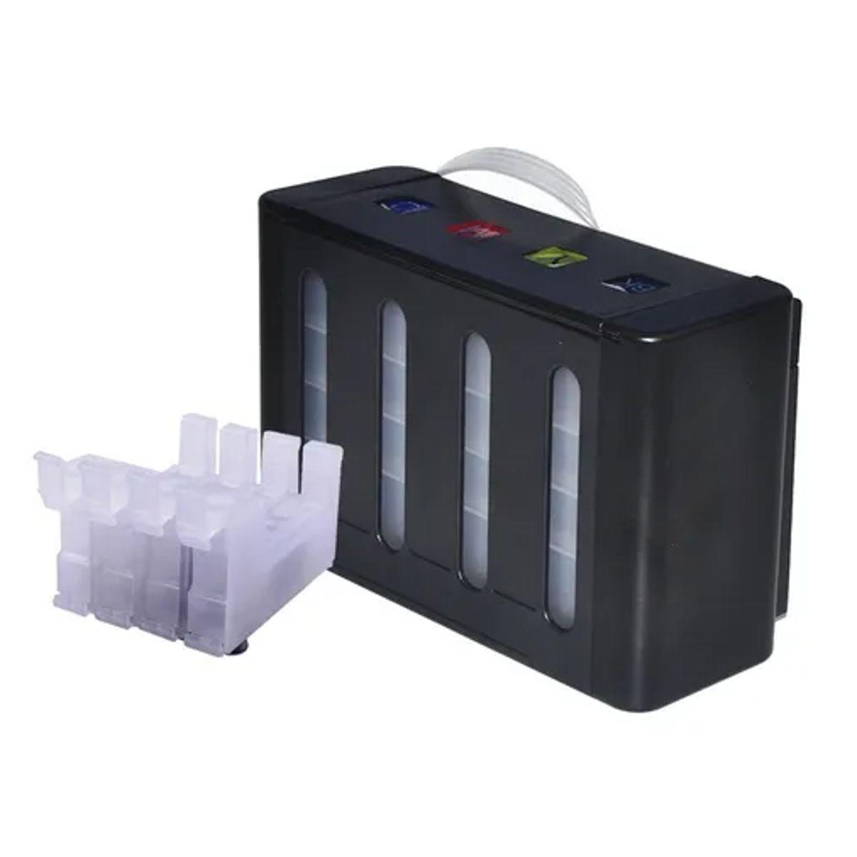"""Reservatório Bulk Ink Caixa Preta 4 Cores """"LUXO"""" com Cartuchos Transparente para Epson - Vazio"""