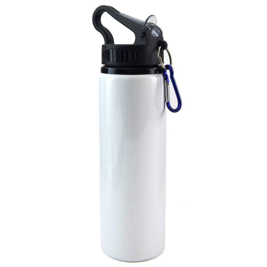 Squeeze de Alumínio Branco com Bico Retratil e Mosquetão - 750ml