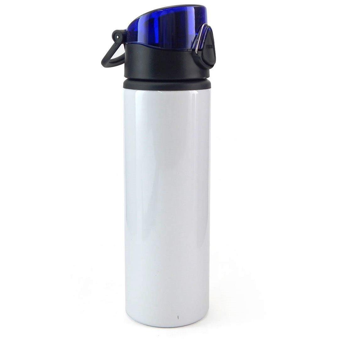 Squeeze de Alumínio Branco com Tampa Azul e Trava - 750ml