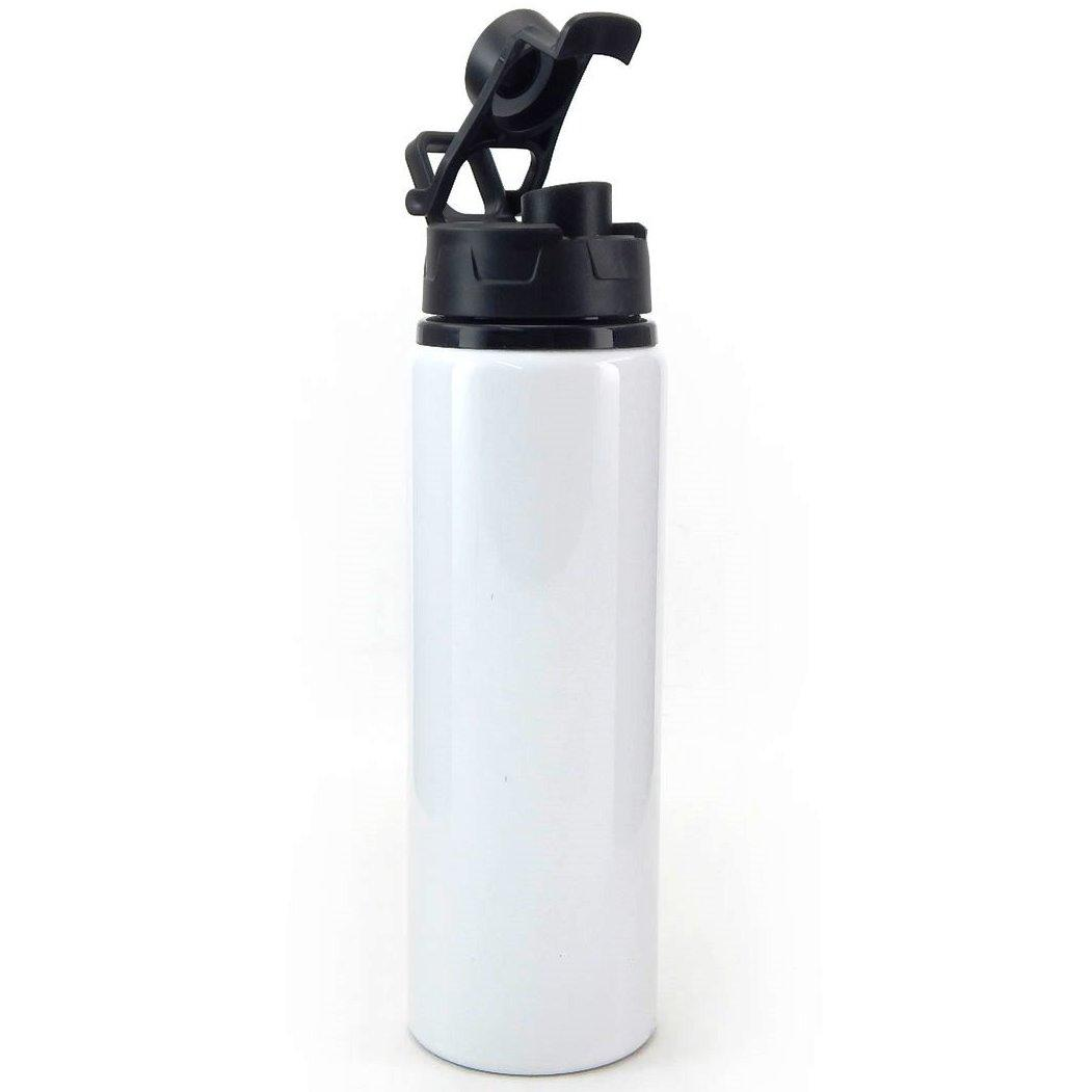 Squeeze de Alumínio Branco com Tampa Preta Pop-Up - 750ml