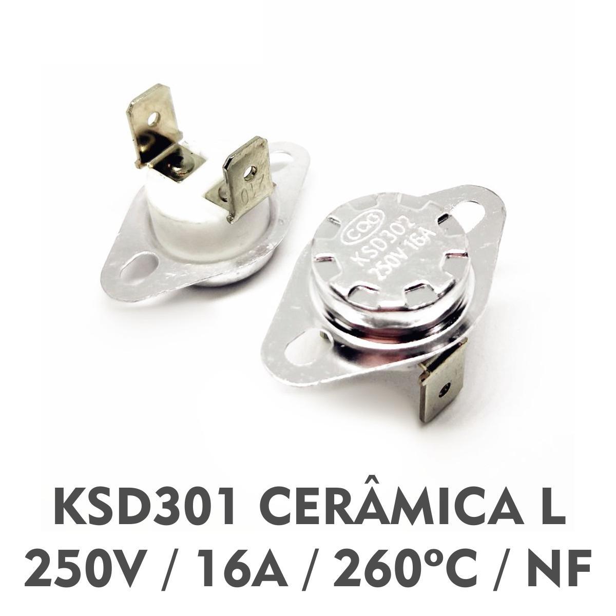 Termostato KSD301 250V - 16A - Cerâmica 260ºC - Normal: Fechado