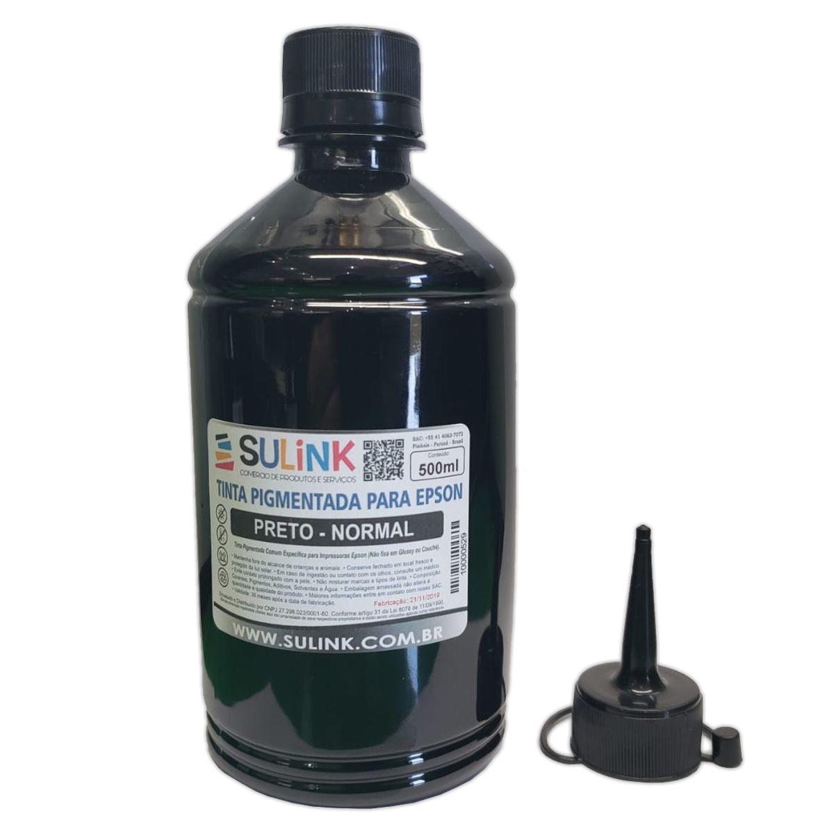 Tinta Pigmentada Preta para Impressoras Epson (Similar a 504 e 774) | 500ml + Bico