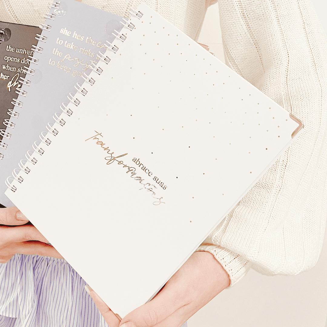 Caderno poá - branco