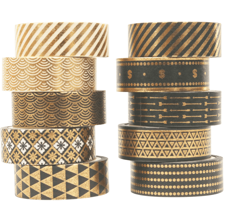 Kit 10 washi tapes golden