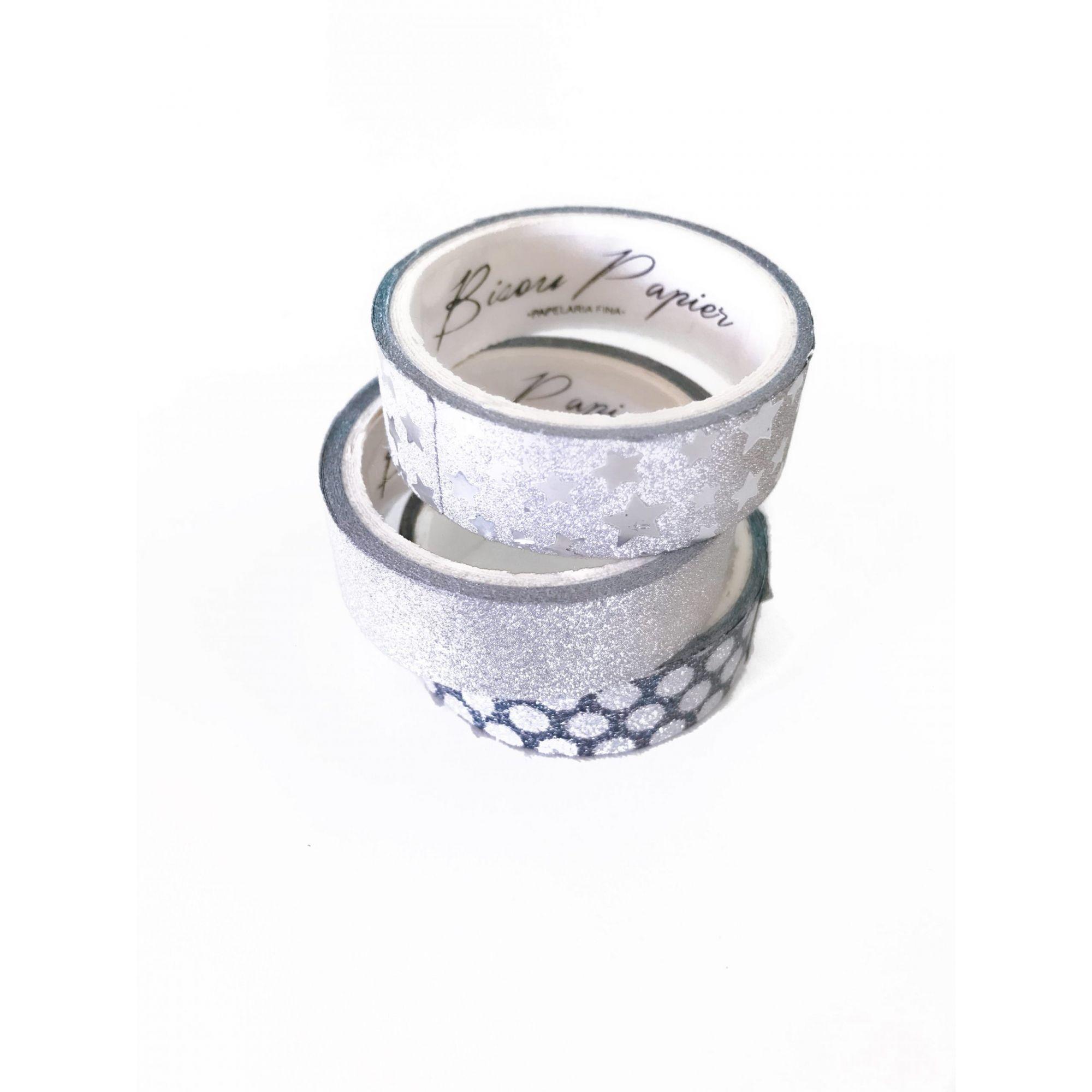 Kit washi tape - silver glitter