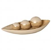 Barca com Esferas Decorativas Bege e Dourada Linha Areia
