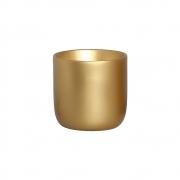 Cachepot M Dourado Cerâmica Decoração Casa 16,2x16,6 cm
