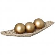 Centro de Mesa em Cerâmica Bege com Esferas Douradas Linha Renda