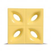Cobogó de Cerâmica Amarelo Claro Esmaltado Linha Pétala 19,5x19,5x8 Cm