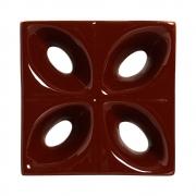 Cobogó de Cerâmica Marrom Esmaltado Linha Pétala 19,5x19,5x8 Cm