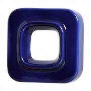 Cobogó Nova Bauhaus Quadrado Azul Cobalto em Cerâmica Esmaltada 19,5x19,5x6,5 Cm