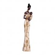 Escultura Africana Em Cerâmica Cor Dourada 62,5x15,5 cm