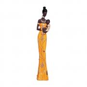 Estatueta Mãe Africana Laranja 42,5x9 cm