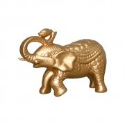 Elefante em Cerâmica Dourado Linha Renda 25x34 cm