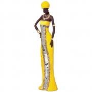 Escultura Africana Em Cerâmica Cor Amarela 62,5x15,5 cm