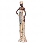 Estatueta Africana em Cerâmica Dourada 62,5x15,5 cm