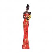 Estatueta Mãe Africana Vermelha 42,5x9 cm