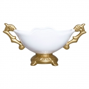 Floreira Em Cerâmica Branca E Dourada Linha Glamour 19,5x40 cm