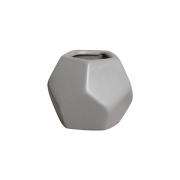 Mini Vasinho Geométrico Cerâmica Cinza 8,8x10,4 cm