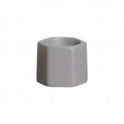 Mini Vasinho Hexagonal Cerâmica Cinza 6,9x7,7 cm