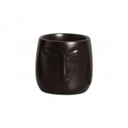 Mini Vaso Rosto Cerâmica Preto 10x10,2 cm