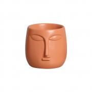 Mini Vaso Rosto Cerâmica Terracota 10x10,2 cm