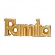 Palavra Decorativa Família em Cerâmica Linha Light Gold 15x40 cm