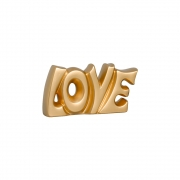 Palavra Love Dourada em Cerâmica Linha Glamour 14x29 cm
