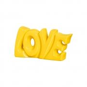 Palavra Love em Cerâmica Cor Amarelo P/ Enfeite Linha Fashion