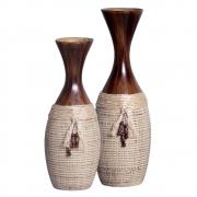 Par de Vasinhos Rústico Em Cerâmica P/ Sala Linha Artesã