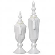 Par de Vasos Altos em Cerâmica Linha Pérola