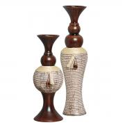 Par de Vasos Em Cerâmica Modelo Rústico Linha Artesã