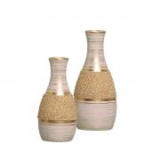 Par de Vasos Linha Areia Bege e Dourado P/ Sala