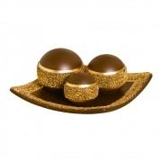 Prato com Esferas Marrom e Dourado