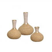 Trio de Vasos Linha Areia P/ Decoração Casa