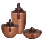 Trio de Vasos para Aparador Marrom e Bronze Linha Topázio