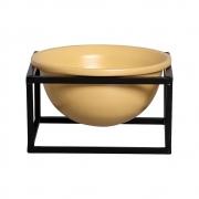 Vaso Amarelo M Cerâmica C/ Suporte Ferro Bbb P/ Decoração Mesa