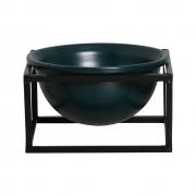 Vaso Azul M Cerâmica C/ Suporte Ferro Bbb P/ Decoração Mesa