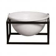 Vaso Branco M Cerâmica C/ Suporte Ferro Bbb P/ Decoração Mesa