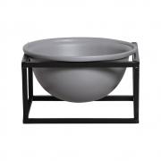 Vaso Cinza M Cerâmica C/ Suporte Ferro Bbb P/ Decoração Mesa